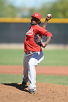Cincinnati Reds pitcher Wagner Gomez (34) during an Instructional League game against the Texas Rangers on October 3, 2014 at Surprise Stadium Training Complex in Surprise, Arizona.  (Mike Janes/Four Seam Images)
