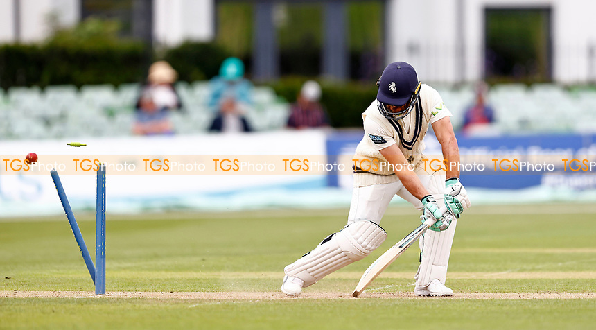 Heino Kuhn of Kent is bowled by Jamie atkins during Kent CCC vs Sussex CCC, LV Insurance County Championship Group 3 Cricket at The Spitfire Ground on 11th July 2021