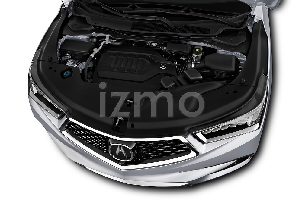 Car stock 2018 Acura MDX Sport Hybrid Advance Package 5 Door SUV engine high angle detail view