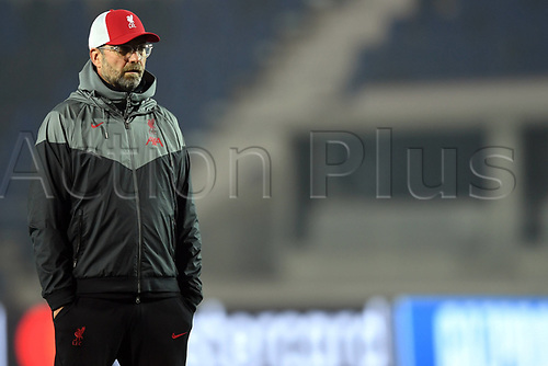 3rd November 2020; Bergamo, Lombardy, Italy. UEFA Champions League football, group stages, Atalanta versus Liverpool FC; Liverppol manager Jurgen Klopp watches the game from the sideline