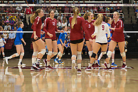 STANFORD, CA - NOVEMBER 17: Stanford, CA - November 17, 2019: Meghan McClure, Audriana Fitzmorris, Jenna Gray, Holly Campbell, Morgan Hentz, Kathryn Plummer at Maples Pavilion. #4 Stanford Cardinal defeated UCLA in straight sets in a match honoring neurodiversity. during a game between UCLA and Stanford Volleyball W at Maples Pavilion on November 17, 2019 in Stanford, California.