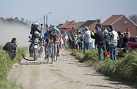 Stijn Vandenbergh (BEL/AG2R La Mondiale) leads the early breakaway group on pavé sector 20: Haveluy to Wallers<br /> <br /> 115th Paris-Roubaix 2017 (1.UWT)<br /> One day race: Compiègne > Roubaix (257km)