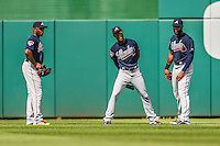 22 June 2014: Atlanta Braves outfielder Justin Upton (left) chats with fellow outfielders B.J. Upton (his brother, center) and Jason Heyward (right) during a pitching change against the Washington Nationals at Nationals Park in Washington, DC. The Nationals defeated the Braves 4-1 to split their 4-game series and take sole possession of first place in the NL East. Mandatory Credit: Ed Wolfstein Photo *** RAW (NEF) Image File Available ***