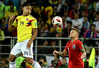 MOSCU - RUSIA, 03-07-2018: Luis MURIEL (Izq) jugador de Colombia disputa el balón con Kyle WALKER (Der) jugador de Inglaterra durante partido de octavos de final por la Copa Mundial de la FIFA Rusia 2018 jugado en el estadio del Spartak en Moscú, Rusia. / Luis MURIEL (L) player of Colombia fights the ball with Kyle WALKER (R) player of England during match of the round of 16 for the FIFA World Cup Russia 2018 played at Spartak stadium in Moscow, Russia. Photo: VizzorImage / Julian Medina / Cont