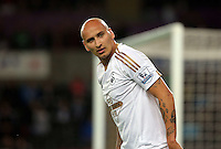 Pictured: Jonjo Shelvey of Swansea Tuesday 25 August 2015<br /> Re: Capital One Cup, Round Two, Swansea City v York City at the Liberty Stadium, Swansea, UK.