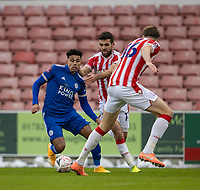 9th January 2021; Bet365 Stadium, Stoke, Staffordshire, England; English FA Cup Football, Carabao Cup, Stoke City versus Leicester City; James Justin of Leicester City under pressure from Tommy Smith of Stoke City