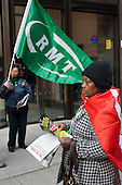 RMT strikers demonstrate outside the Transport for London head office as part of a day of coordinated national action for a living wage for cleaners and security staff at six rail operators.
