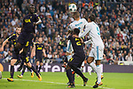 Real Madrid Karim Benzema and Raphael Varane and Tottenham /to06 and Serge Aurier during UEFA Champions League match between Real Madrid and Tottenham at Santiago Bernabeu in Madrid, Spain October 17, 2017. (ALTERPHOTOS/Borja B.Hojas)