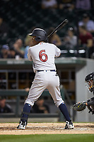Daniel Barrios (6) of the Scranton/Wilkes-Barre RailRiders pinch-hits during the game against the Charlotte Knights at BB&T BallPark on April 12, 2018 in Charlotte, North Carolina.  The RailRiders defeated the Knights 11-1.  (Brian Westerholt/Four Seam Images)