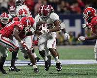 Atlanta, Georgia - December 1, 2018: Mercedes-Benz Stadium, the number 1 ranked University of Alabama Crimson Tide and the number 4 ranked Georgia Bulldogs for the SEC Championship.
