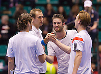 December 20, 2014, Rotterdam, Topsport Centrum, Lotto NK Tennis, Men's doubles final, winners Wesley Koolhof (R) and his partner Thiemo de Bakker being congratulated bij the runner ups David de Goede and Stijn de Gier<br /> Photo: Tennisimages/Henk Koster