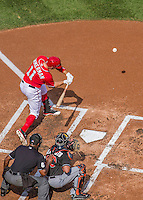 28 September 2014: Washington Nationals outfielder Ryan Zimmerman in action against the Miami Marlins at Nationals Park in Washington, DC. The Nationals shut out the Marlins 1-0, caping the season with the first Nationals no-hitter in modern times. The win also notched a 96 win season for the Nats: the best record in the National League. Mandatory Credit: Ed Wolfstein Photo *** RAW (NEF) Image File Available ***