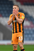 Hull City's Greg Docherty reacts after missing a chance on goal<br /> <br /> Photographer Dave Howarth/CameraSport<br /> <br /> The EFL Sky Bet League One - Rochdale v Hull City - Saturday 17th October 2020 - Spotland Stadium - Rochdale<br /> <br /> World Copyright © 2020 CameraSport. All rights reserved. 43 Linden Ave. Countesthorpe. Leicester. England. LE8 5PG - Tel: +44 (0) 116 277 4147 - admin@camerasport.com - www.camerasport.com