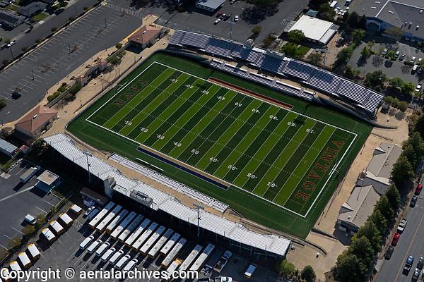 aerial photograph the football stadium at the Vintage High School, City of Napa, Napa County, California