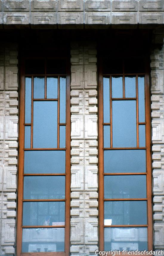 F. L. Wright: Storer House. Window Detail. (Photo '82)