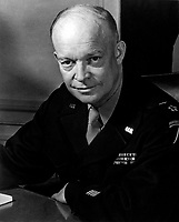 General Dwight D. Eisenhower, Supreme Allied Commander, at his headquarters in the European theather of operations.  He wears the five-star cluster of the newly-created rank of General of the Army.  February 1, 1945.  T4c. Messerlin. (Army)
