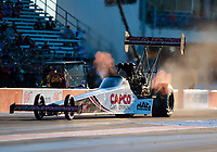 Oct 18, 2019; Ennis, TX, USA; NHRA top fuel driver Steve Torrence during qualifying for the Fall Nationals at the Texas Motorplex. Mandatory Credit: Mark J. Rebilas-USA TODAY Sports
