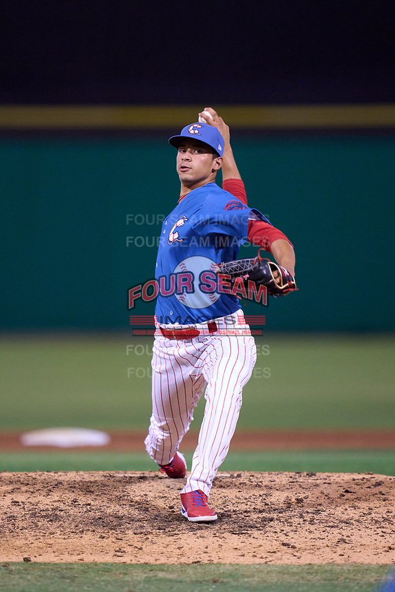 Clearwater Threshers pitcher Victor Vargas (17) during a game against the Dunedin Blue Jays on May 18, 2021 at BayCare Ballpark in Clearwater, Florida.  (Mike Janes/Four Seam Images)
