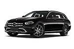 Stock pictures of low aggressive front three quarter view of 2021 Mercedes Benz E-Class All-terrain-Avantgarde 5 Door Wagon Low Aggressive