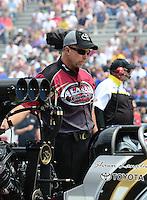 Jun. 2, 2012; Englishtown, NJ, USA: NHRA crew chief Brian Husen for top fuel dragster driver Shawn Langdon during qualifying for the Supernationals at Raceway Park. Mandatory Credit: Mark J. Rebilas-