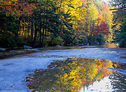 Reflection of autumn colors along the Swift River, near the Kancamagus Highway (route 112), in the White Mountains of New Hampshire.
