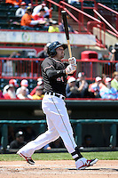 Erie SeaWolves first baseman Aaron Westlake (24) at bat during a game against the Akron RubberDucks on May 18, 2014 at Jerry Uht Park in Erie, Pennsylvania.  Akron defeated Erie 2-1.  (Mike Janes/Four Seam Images)