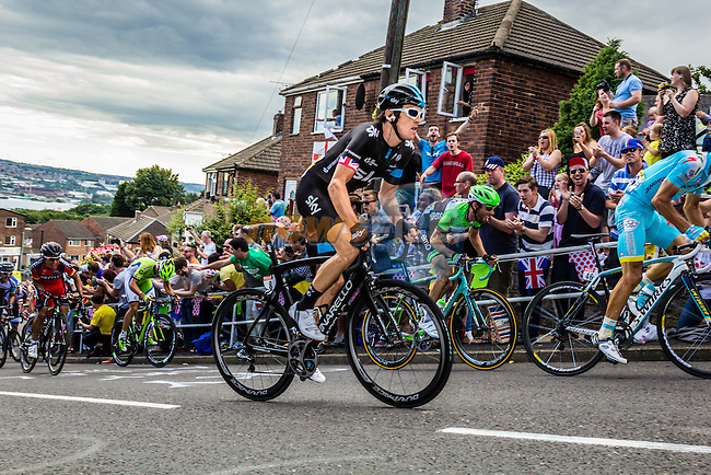 The peleton including Geraint Thomas (WAL) Team Sky tackle Cote du Jenkin Road the final brutal climb near the end of Stage 2 of the 2014 Tour de France running 200km from York to Sheffield. 6th July 2014.<br /> Picture:Thomas van Bracht/Peloton Photos/www.newsfile.ie