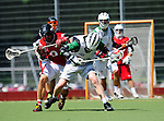 BERLIN, GERMANY - JUNE 22: Quarterfinal match between LOVE Lax (white) vs Team Austria (red) during the Berlin Open Lacrosse Tournament 2013 at Stadion Lichterfelde on June 22, 2013 in Berlin, Germany. Final score 17-1. (Photo by Dirk Markgraf/www.265-images.com)