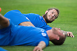 Spartak Trnava v St Johnstone...06.08.14  Europa League Qualifier 3rd Round<br /> Stevie May limbers up during training in the FC Vion Stadium<br /> Picture by Graeme Hart.<br /> Copyright Perthshire Picture Agency<br /> Tel: 01738 623350  Mobile: 07990 594431
