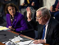 United States Senate Minority Whip Dick Durbin (Democrat of Illinois), right, questions a witness as the US Senate Judiciary committee continues its hearing on the confirmation of Judge Amy Coney Barrett to the Supreme Court, in Washington, DC on October 15, 2020.<br /> Credit: Bill O'Leary / Pool via CNP /MediaPunch