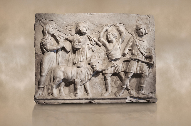 Roman relief sculpture of the Coronation of Hierapolis. Roman 2nd century AD, Hierapolis Theatre.. Hierapolis Archaeology Museum, Turkey. Against an art background