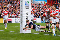 Scotland Fly-Half Finn Russell scores a try - Mandatory byline: Rogan Thomson - 23/09/2015 - RUGBY UNION - Kingsholm Stadium - Gloucester, England - Scotland v Japan - Rugby World Cup 2015 Pool B.