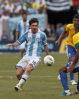 Argentina forward  Lionel Messi (10) controls the ball. In an international friendly (Clash of Titans), Argentina defeated Brazil, 4-3, at MetLife Stadium on June 9, 2012.