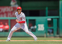 15 May 2016: Washington Nationals shortstop Stephen Drew takes a lead off first during a game against the Miami Marlins at Nationals Park in Washington, DC. The Marlins defeated the Nationals 5-1 in the final game of their 4-game series.  Mandatory Credit: Ed Wolfstein Photo *** RAW (NEF) Image File Available ***