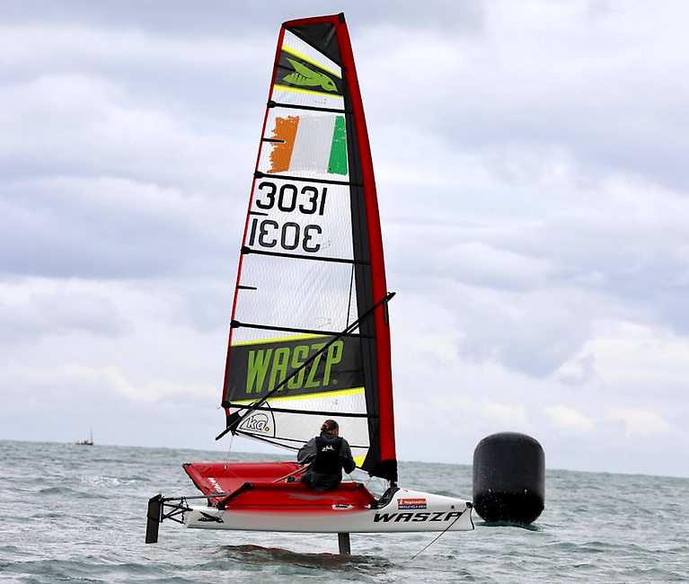 Races at the Waszp Nationals were typically over a .6 nautical mile Windward Leeward course. There were three laps of 20 to 25-minute duration. Downwind legs took about three minutes for the leaders. Pictured is RStGYC's Elysia O'Leary