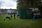 Nelson 3 Daisy Hill 6, 12/10/2019. Victoria Park, North West Counties League, First Division North. Visiting players go through their pre-match warm-up before Nelson hosted Daisy Hill at Victoria Park. Founded in 1881, the home club were members of the Football League from 1921-31 and has played at their current ground, known as Little Wembley, since 1971. The visitors won this fixture 6-3, watched by an attendance of 78. Photo by Colin McPherson.