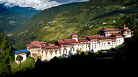 Trongsa Dzong, an impressive, fortress dzong and monastic complex. Built in the sixteenth century in a strategic location, overlooking the Mangde river gorge in Central Bhutan. Trongsa Dzong is the largest dzong in Bhutan.