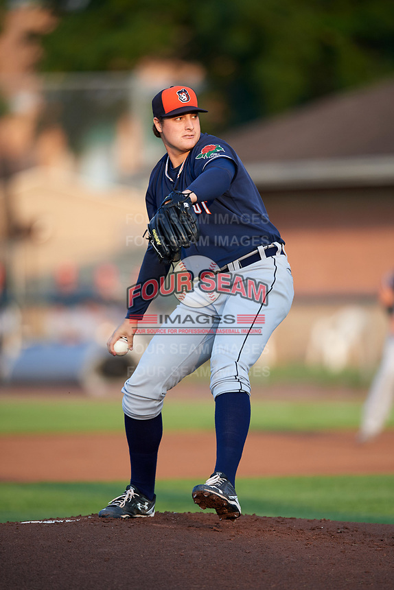 Connecticut Tigers starting pitcher Brad Bass (39) delivers a pitch during a game against the Auburn Doubledays on August 9, 2017 at Falcon Park in Auburn, New York.  Connecticut defeated Auburn 6-4.  (Mike Janes/Four Seam Images)
