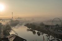 A view of the Sana River and the city in the early morning.