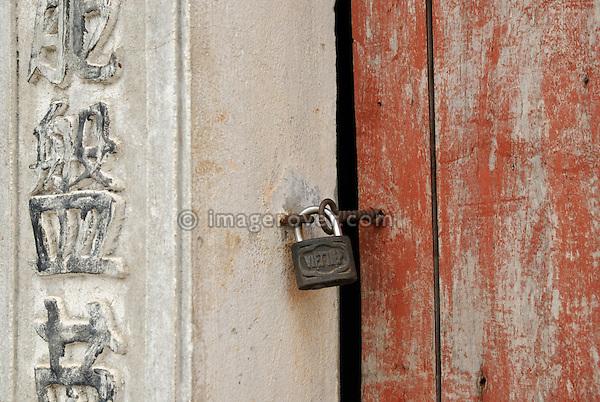 Asia, Vietnam, Ninh Binh, near Hoa Lu. Locked pagoda.