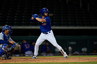AZL Cubs 1 Jacob Olson (16) at bat in front of catcher Omar Hernandez (12) during an Arizona League game against the AZL Royals on June 30, 2019 at Sloan Park in Mesa, Arizona. AZL Royals defeated the AZL Cubs 1 9-5. (Zachary Lucy/Four Seam Images)