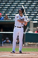 Sacramento RiverCats left fielder Chris Shaw (15) at bat during a Pacific Coast League against the Tacoma Rainiers at Raley Field on May 15, 2018 in Sacramento, California. Tacoma defeated Sacramento 8-5. (Zachary Lucy/Four Seam Images)