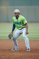 Lynchburg Hillcats first baseman Emmanuel Tapia (28) on defense against the Winston-Salem Dash at BB&T Ballpark on May 1, 2018 in Winston-Salem, North Carolina. The Dash defeated the Hillcats 9-0. (Brian Westerholt/Four Seam Images)