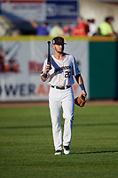 Bowling Green Hot Rods left fielder Jim Haley (20) before a game against the Peoria Chiefs on September 15, 2018 at Bowling Green Ballpark in Bowling Green, Kentucky.  Bowling Green defeated Peoria 6-1.  (Mike Janes/Four Seam Images)