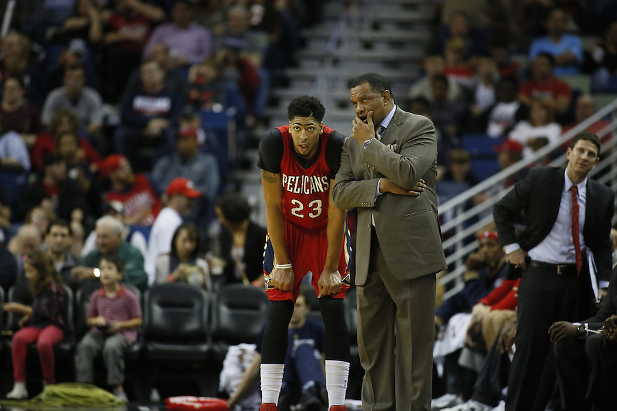 during the second half of an NBA basketball game Wednesday, Dec. 23, 2015, in New Orleans. The Pelicans won 115-89. (AP Photo/Jonathan Bachman)
