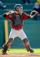 30 April 2008: University of Massachusetts Minutemen catcher Ben Kessel, a Sophomore from Richboro, PA, in action against the University of Vermont Catamounts at Historic Centennial Field in Burlington, Vermont. The Catamounts recorded a season-high 19 hits as they defeated the Minutemen 17-4 in their last NCAA non-conference game of the year...Mandatory Photo Credit: Ed Wolfstein Photo