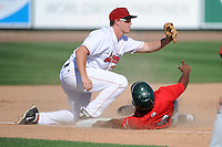 Great Lakes Loons third baseman Brandon Dixon (36) tags out Reynaldo Bruguera (9) during a game against the Fort Wayne TinCaps on August 18, 2013 at Dow Diamond in Midland, Michigan.  Fort Wayne defeated Great Lakes 4-3.  (Mike Janes/Four Seam Images)