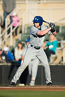 Vince Fernandez (8) of the Asheville Tourists at bat against the Kannapolis Intimidators at Kannapolis Intimidators Stadium on May 6, 2017 in Kannapolis, North Carolina.  The Intimidators walked-off the Tourists 7-6.  (Brian Westerholt/Four Seam Images)