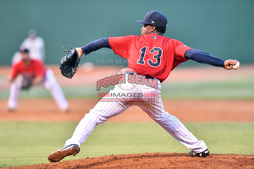 Elizabethton Twins starting pitcher Prelander Berroa (13) delivers a pitch during game two of the Appalachian League Championship Series against the Princeton Rays at Joe O'Brien Field on September 5, 2018 in Elizabethton, Tennessee. The Twins defeated the Rays 2-1 to win the Appalachian League Championship. (Tony Farlow/Four Seam Images)