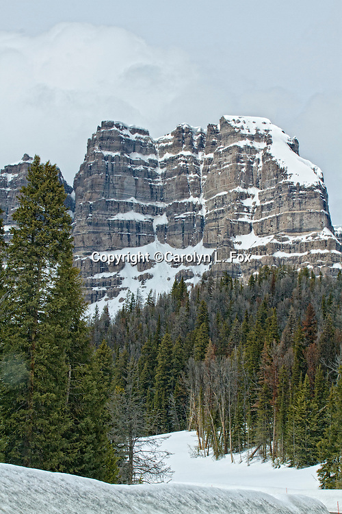 A snow covered mountain rises above the trees just outside Dubois, Wyoming.